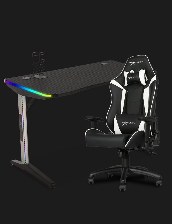 E-WIN 2.0 Black & White Gaming Setup With Wireless Charger Bundle KT