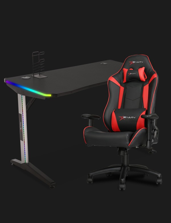 E-WIN 2.0 Black & Red Gaming Setup With Wireless Charger Bundle KT