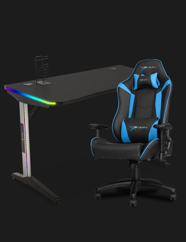 E-WIN 2.0 Black & Blue Gaming Setup With Wireless Charger Bundle KT