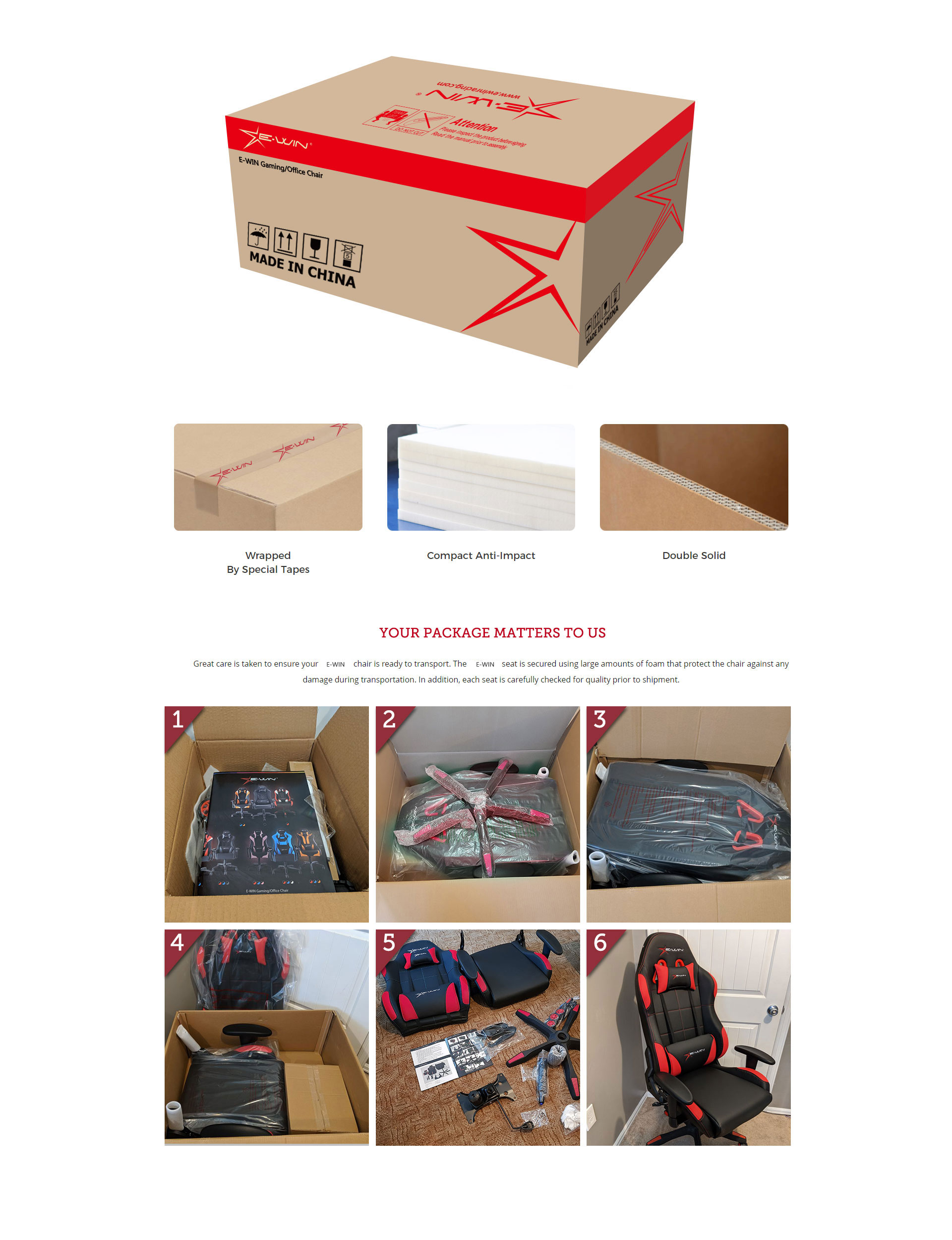 Package of E-WIN Gaming Chairs