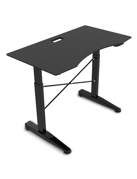"E-WIN Pneumatic Height Adjustable Standing Gaming Desk with 1"" Thick Curved Desktop - CSB"