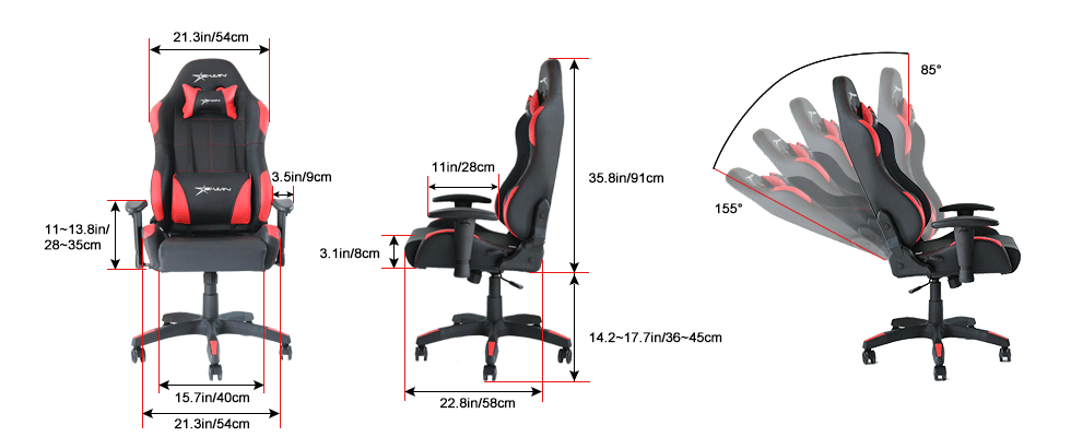 EwinRacing Calling Gaming Chairs Dimensions