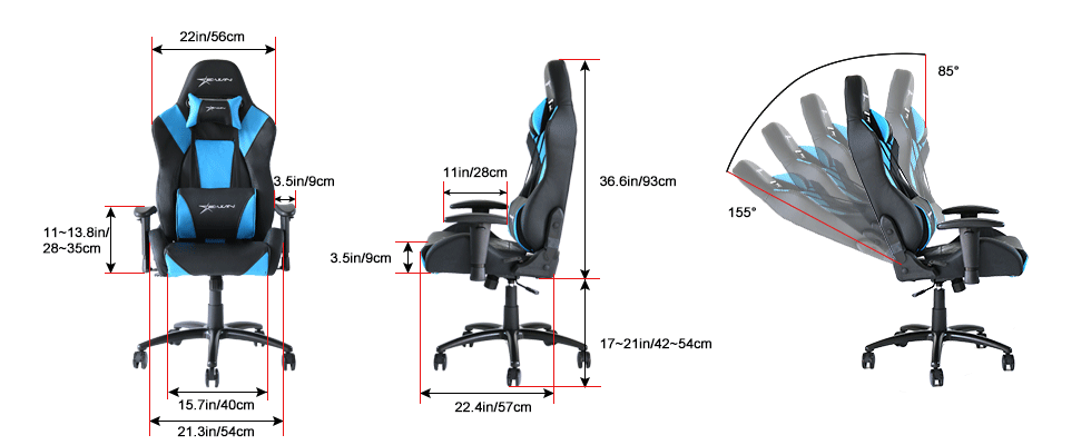 EwinRacing Hero Gaming Chairs Dimensions