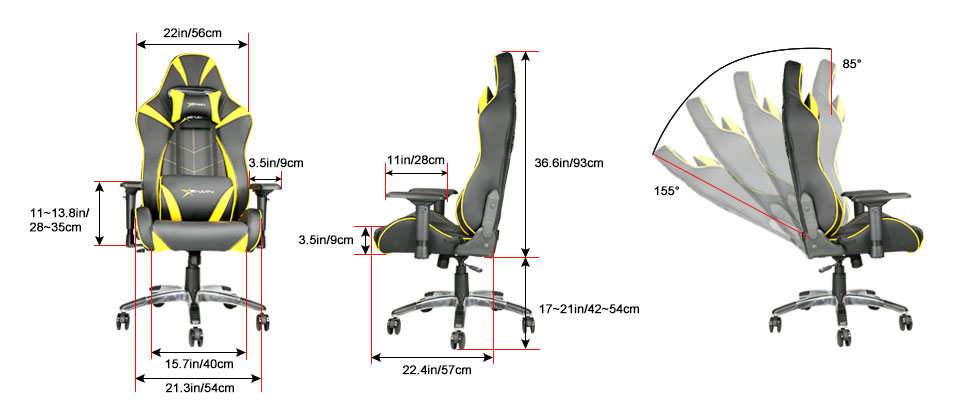 Ewin Hero Series Ergonomic Computer Gaming Office Chair With Pillows Hrf