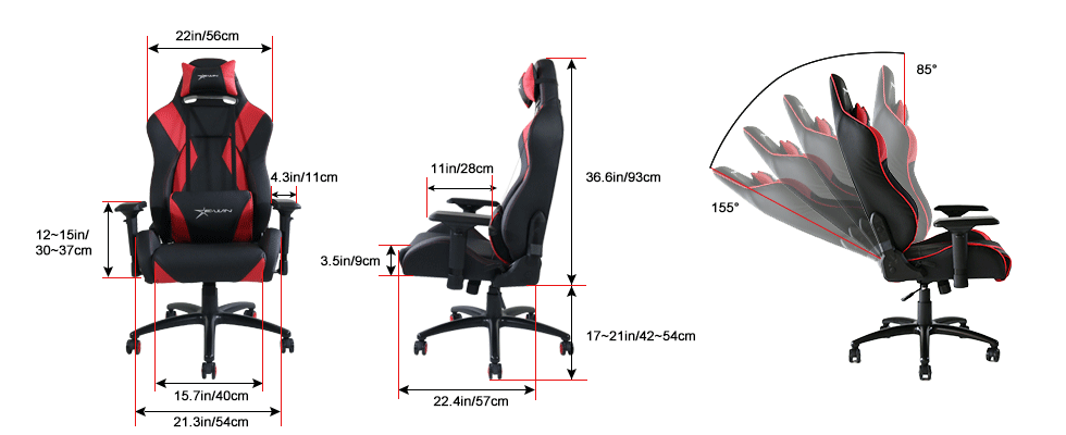 EwinRacing Hreo Gaming Chairs Dimensions