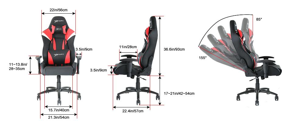 EwinRacing Hero Gaming Chairs Dimensions