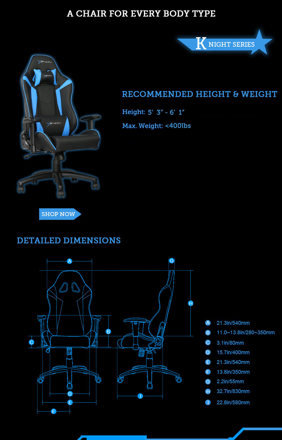 Dimensions of E-WIN Knight Series Gaming Chairs