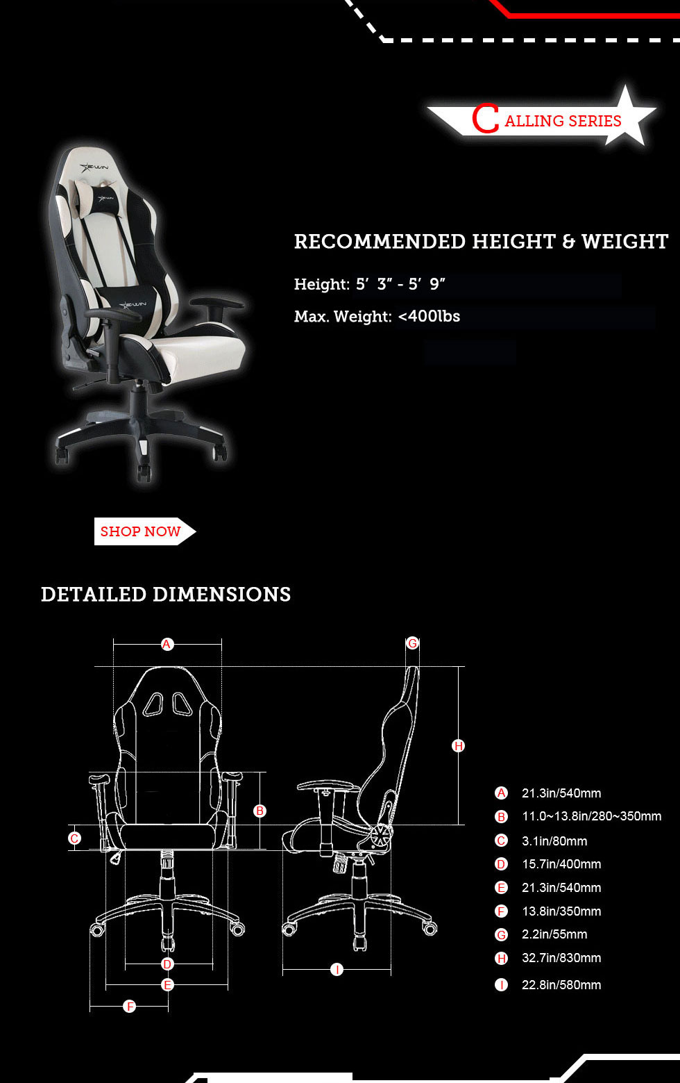 Dimensions of E-WIN Calling Series Gaming Chairs