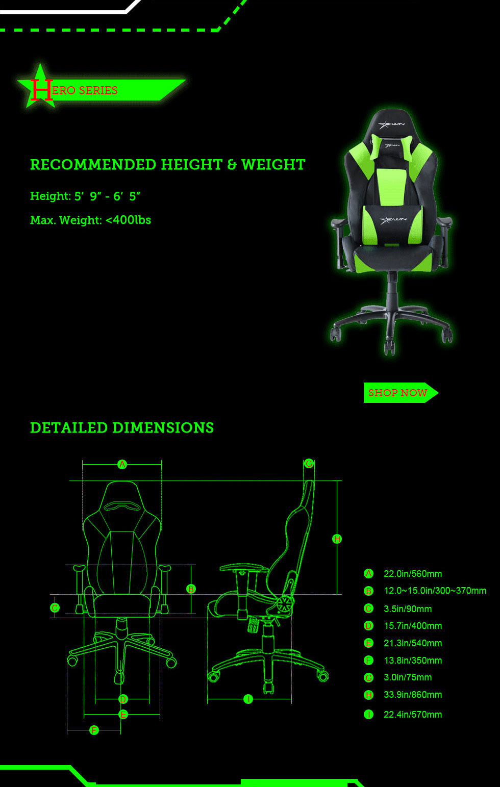 Dimensions of E-WIN Hero Series Gaming Chairs