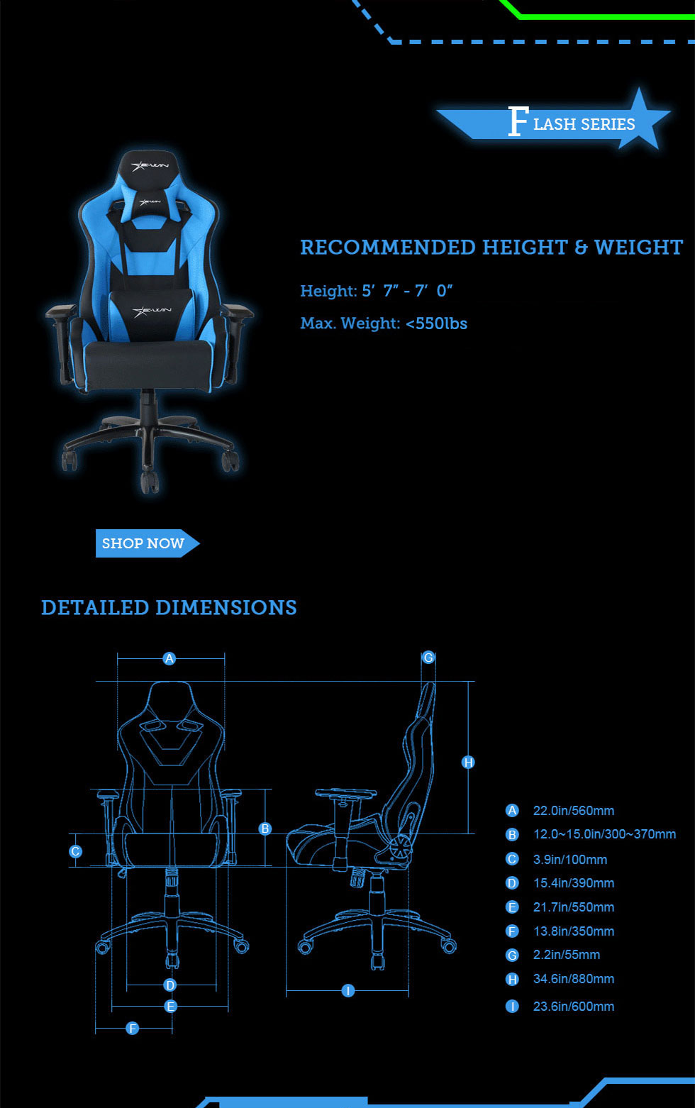 Dimensions of E-WIN Flash Normal Size Gaming Chairs