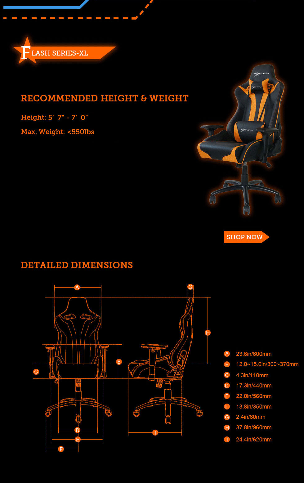 Dimensions of E-WIN Flash Xl Size Gaming Chairs