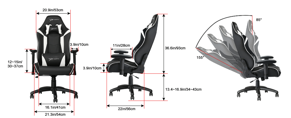 E-WIN Gaming Chairs Size