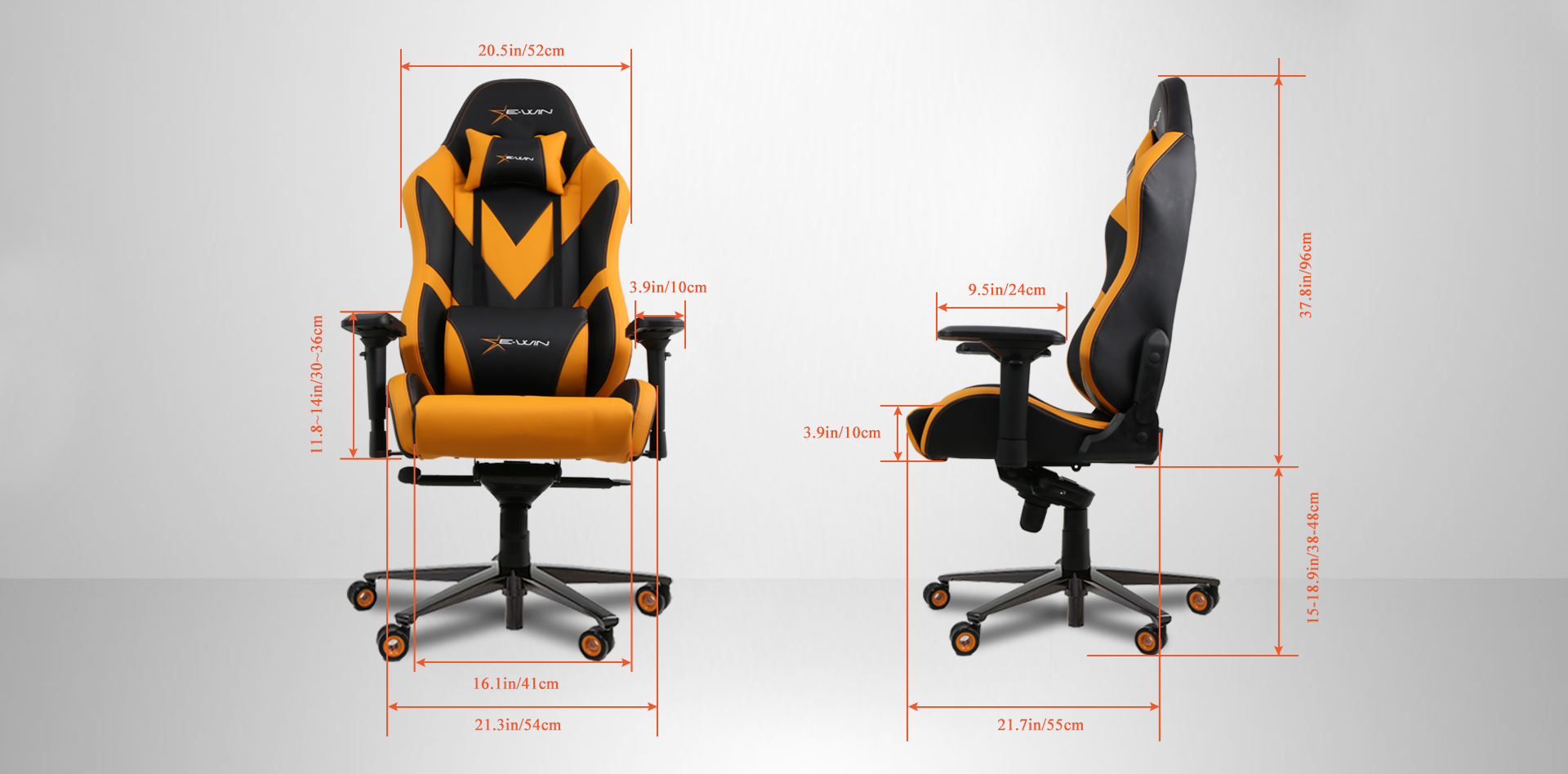 E-WIN Gaming Chair Dimensions