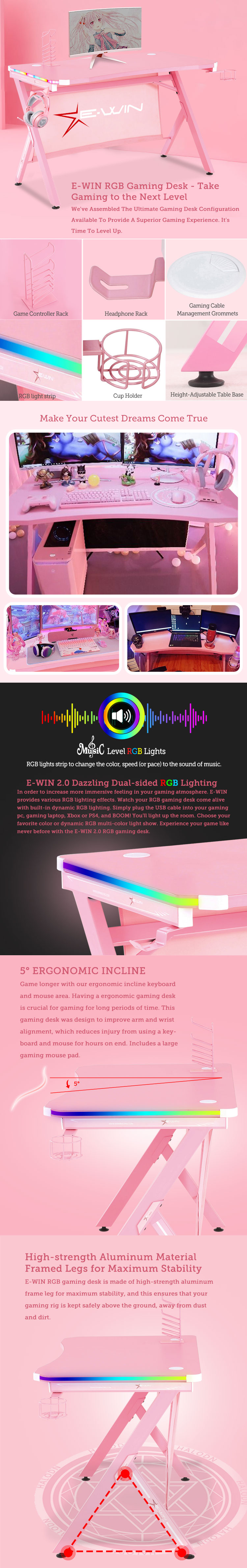 E-WIN RGB Gaming Desk